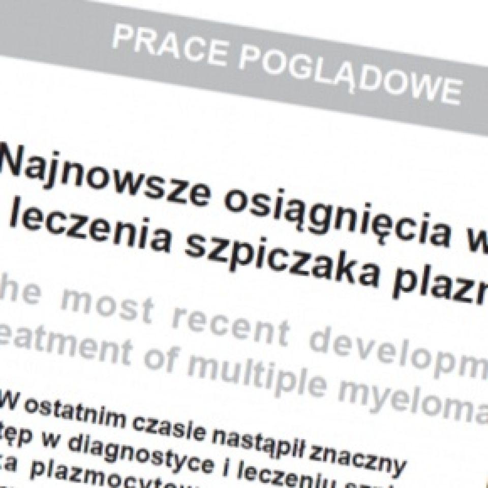 Najnowsze osiągnięcia w zakresie diagnostyki i leczenia szpiczaka plazmocytowego